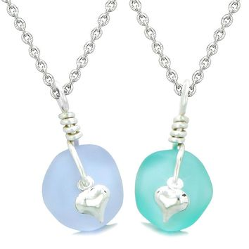 Twisted Twincies Heart Small Sea Glass Lucky Charm Love Couples BFF Set Pastel Purple Aqua Blue Necklaces