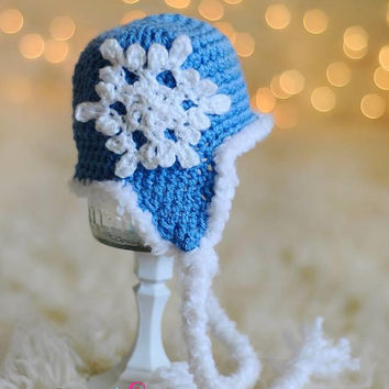 Blue Winter Snowflake Crochet Beanie - Baby, Toddler, Child, Snow Flake, Crochet Snowflake Hat, Boy, Girl, Your choice color