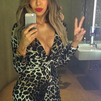 Long V Neck Leopard Printed Bodycon Dress