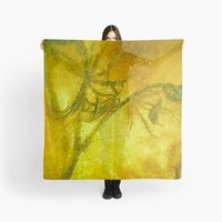 Nature Abstract  Square Scarf - Yellow, Orange and Green. Great for draping around neck or as beach wrap.