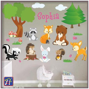 Woodland Animals Wall Decal - Forest Animals Decal - Forest Scene Wall Decals - Forest Animals nursery wall decals