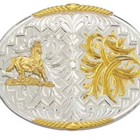 Montana Silversmiths Feathers and Horse Western Belt Buckle - 61468-463M