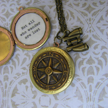 Compass Locket Not all who wander are lost Tolkien quote traveler graduate adventure gift ships from USA