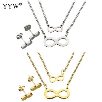 2017 Fashion Stainless Steel Jewelry Sets Stud Earring Infinity Pendant Necklace gold Silver Color Charm Jewelry Set For Women