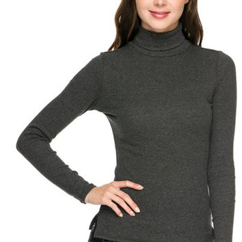 Trendy Slim Fit Long Sleeve Turtleneck