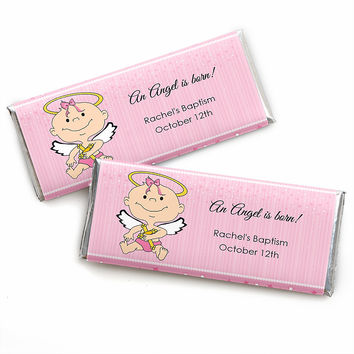 Angel Baby Girl - Personalized Baptism Candy Bar Wrapper Favors