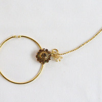 Antique Gold Wedding Crystal Nose Ring Chain Nath