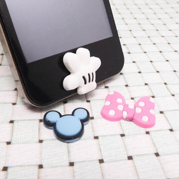 35%OFF Mickey Palm Hand Head Minnie Bowknot Disney Sery DIY Home Button Sticker Apple Products iPhone 3,4/4s,5,ipad 2,3,4,itouch, iPod