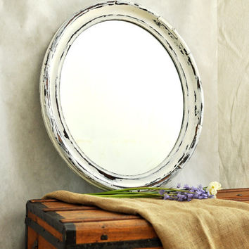 Distressed Antique Oval Wall Mirror Large Bright White & Black Shabby Chic Cottage Decor Rustic