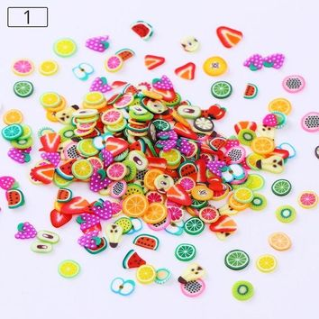 1000pcs Colorful Fimo Slice Nail Studs Polymer Clay Mixed Fruit Flower Cake Christmas Heart Animal Skull 3D Nail Art Decoration