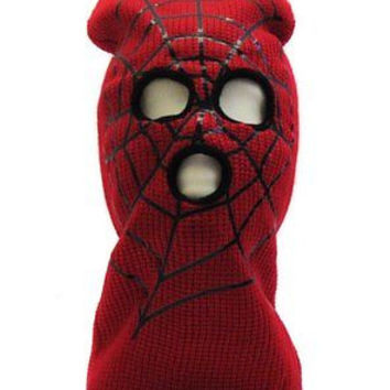 Beanie Full Face Red Spiderman Spider Webb face mask costume halloween attire-