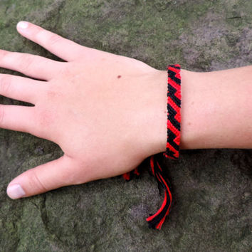 Handmade Friendship Bracelet - Red and Black Zig Zag Pattern