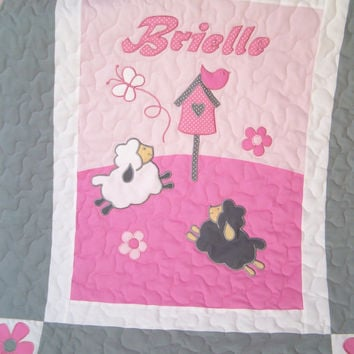 Sheep Crib Quilt, Sweet Lambie Nursery Bedding, Appliqued  Baby Blanket, Child Decor