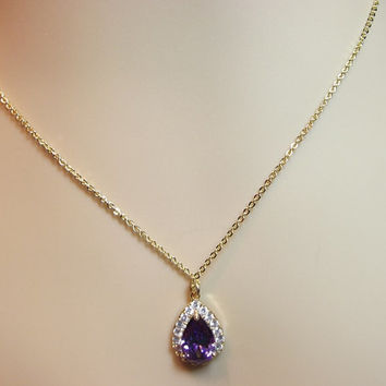 Purple Cubic Zirconia 16K Gold Pendant Necklace, Mom Sister Grandmother Bridesmaid Wedding Jewelry Gift, Christmas Gift, Aunt Girlfriend
