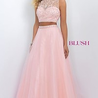 Two Piece Blush Prom Dress with A-line Skirt