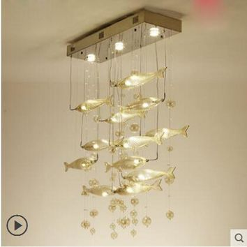 Simple modern bar living room lamp restaurant LED flying fish lighting hotel creative rectangular dining room crystal chandelier