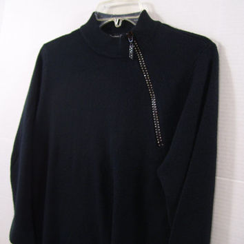 Designers Originals Sweater LUXELON Rich Black With Rhinestone Accented  Diagonal Front Zipper