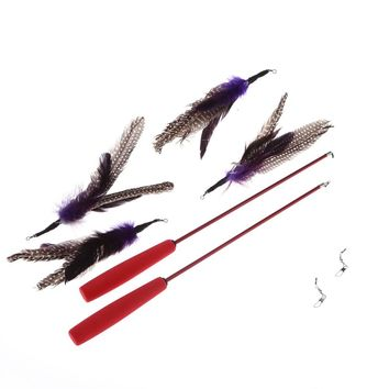 Teaser Wand Rod Pole Cat Feather Toy