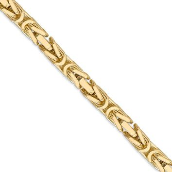 6.5mm, 14k Yellow Gold, Solid Byzantine Chain Necklace