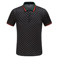 GUCCI Tide brand men's personality POLO shirt half sleeve T-shirt black