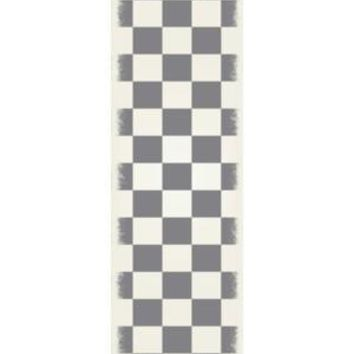 English Checker Design  Size Rug: 2ft x 6ft green & white colors