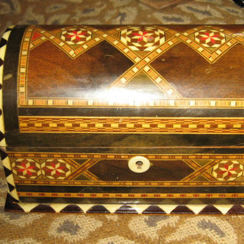 Antique wood  enamel bone /   ivory inlay jewelry  box treasure  chest