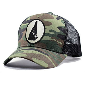 Homeland Tees Men's New Hampshire Home State Army Camo Trucker Hat - Black