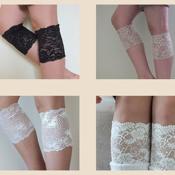 Lace Boot Cuff // 4 Double cuff boot lace, ivory ecru black lace boot cuffs sets of three, legwears FREE SHIP