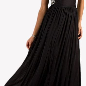 CLEARANCE - Long Black Formal Dress Flowy Chiffon Keyhole Bodice (Size Small)