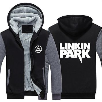 2017 USA SIZE Men hoodies Linkin Park Adult Thicken Hoodie Zipper Sweatshirts Coat Jacket