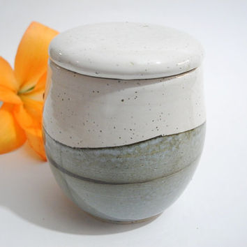 Ceramic Jar with Lid, Kitchen Storage, Tea Caddy,  Handmade Kitchen Pottery in Grey and White