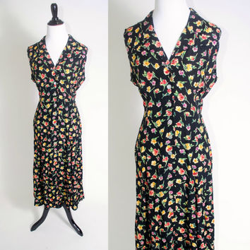 Vintage 1990s Black FLORAL button down sleeveless pearl button grunge back tie maxi dress