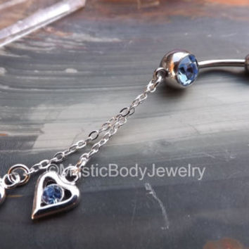 "Belly Button Ring 14g 7/6"" Dangle Navel Rings Silver Blue Crystal Gem Heart Piercing Body Jewelry Curved Barbell Stainless Steel Jewellery"
