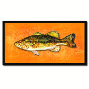 Bass Fish Orange Canvas Print Picture Frame Gifts Home Decor Nautical Wall Art