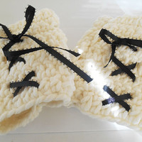 Ivory White Crochet with black ribbon fingerless gloves