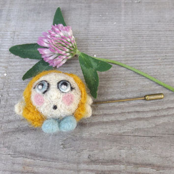 Alice Art doll pin, OOAK  brooch , turquoise yellow brooch, the doll is made of natural Italian wool.
