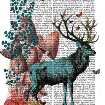 Turquoise Deer in Mushroom Forest - Deer print, deer illustration deep picture stag print fantasy animal wall art wall decor wall hanging