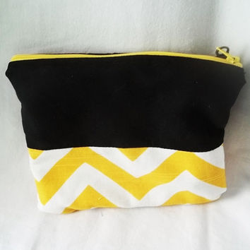 Chevron pouch  small yellow zig zag pouch  Cosmetic by ACAmour