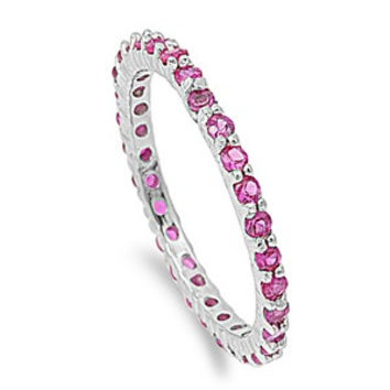 925 Sterling Silver CZ Stackable Eternity Simulated Ruby Ring 2MM