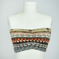 Geometric Ikat Bandeau Top