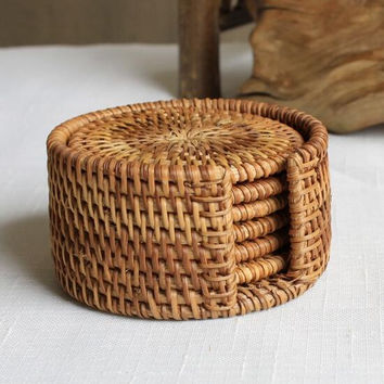 Rattan cup coasters set pot pad table mat 6 sizes porta copos placemats home decoration vintage bamboo handmade