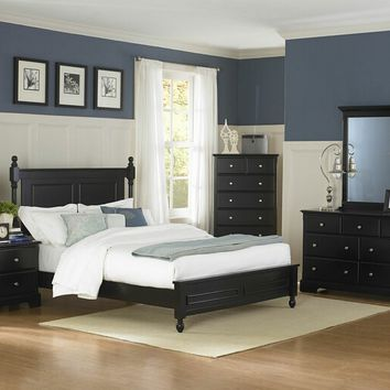 Home Elegance 1356BK-5PC 5 pc morelle collection country style black finish wood bedroom set