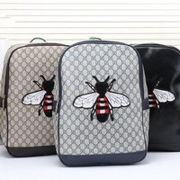 GTOW Gucci' Men Casual Fashion Classic Print  Bee Embroidery Backpack Large Capacity Travel Double Shoulder Bag