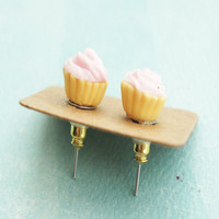 Pink Cupcake Stud Earrings