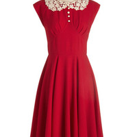 ModCloth Vintage Inspired Long Cap Sleeves A-line Dancing Date Dress in Rouge