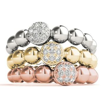 Stackables Tri-Tone Gold Diamond Cluster & Bead 3-Band Set
