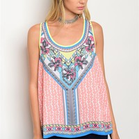 S10-19-2-T011 PEACH MULTI PRINT TOP 2-2-1