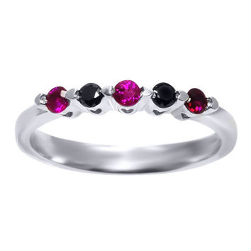 5-Stone Black Diamond Red Ruby 925 Silver Ring