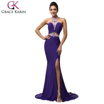 Grace Karin Design Evening Dress 2018 Sexy Backless High-Split Front Halter Dancing Party Dress Long Elegant Evening Dresses