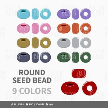 Round Seed Beads Clip Art - Beads Vector Graphic - Vector Illustration of Beads